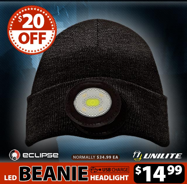 USB Rechargeable 150 Lumen Beanie Headlight - Black