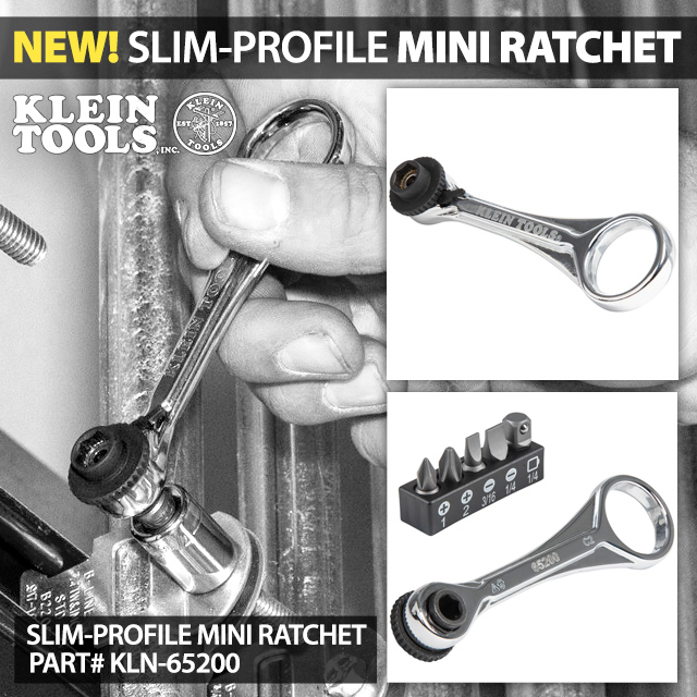 NEW! Klein Tools Slim-Profile Mini Ratchet