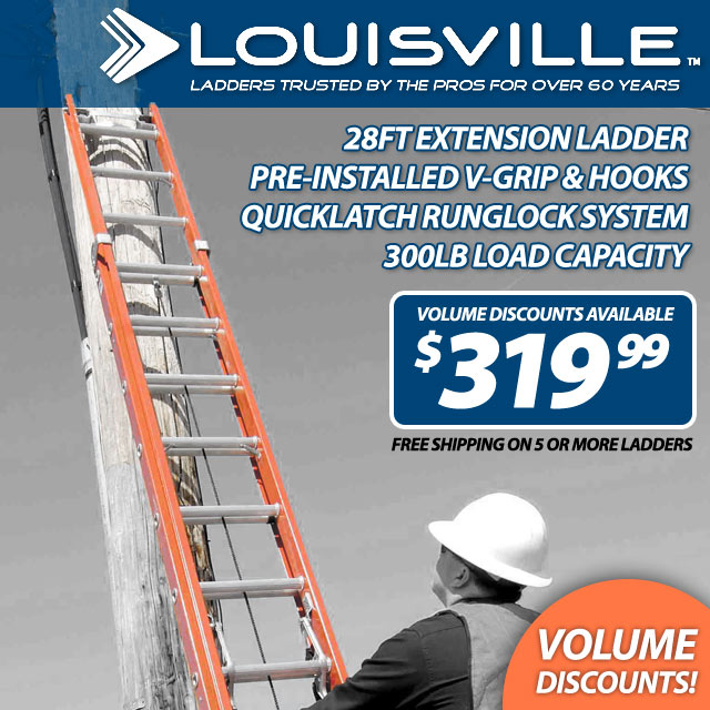 28ft Fiberglass Ladder w/ V-Pole Grip Hooks
