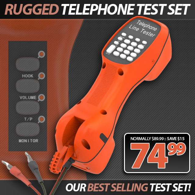Rugged Telephone Test Set w/ Piercing Clips
