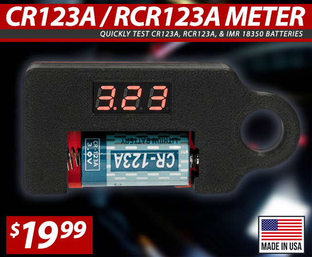 CR123A / RCR123A Battery Test Meter