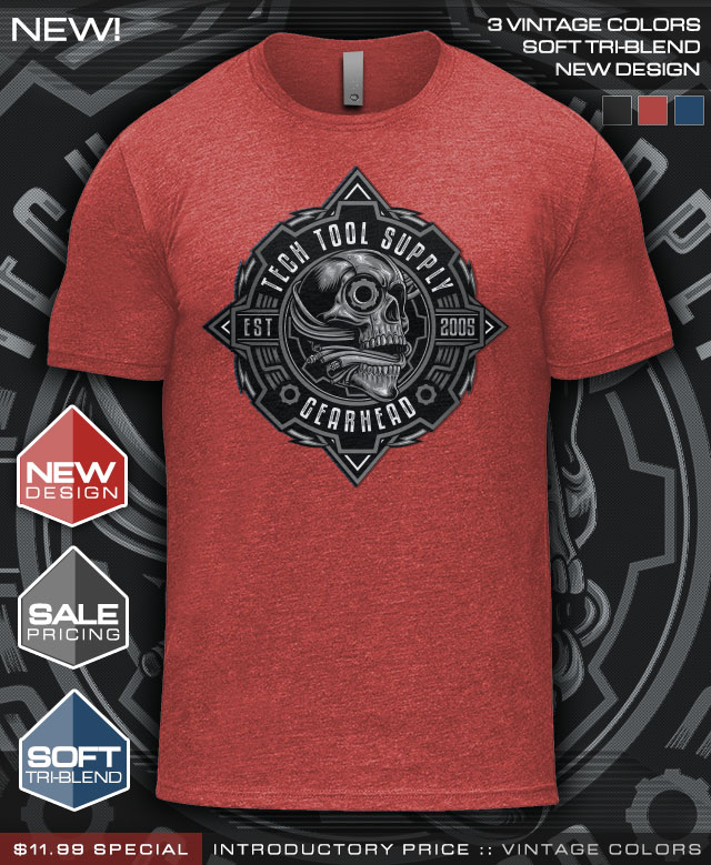 NEW! 2019 Gearhead T-Shirts in 3 Tri-Blend Vintage Colors