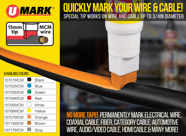 New! U-Phase Wire and Cable Markers - Large